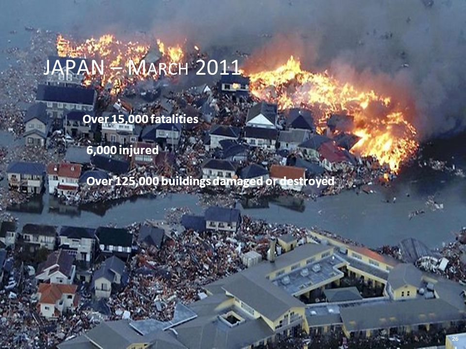 26 JAPAN – M ARCH 2011 Over 15,000 fatalities 6,000 injured Over 125,000 buildings damaged or destroyed