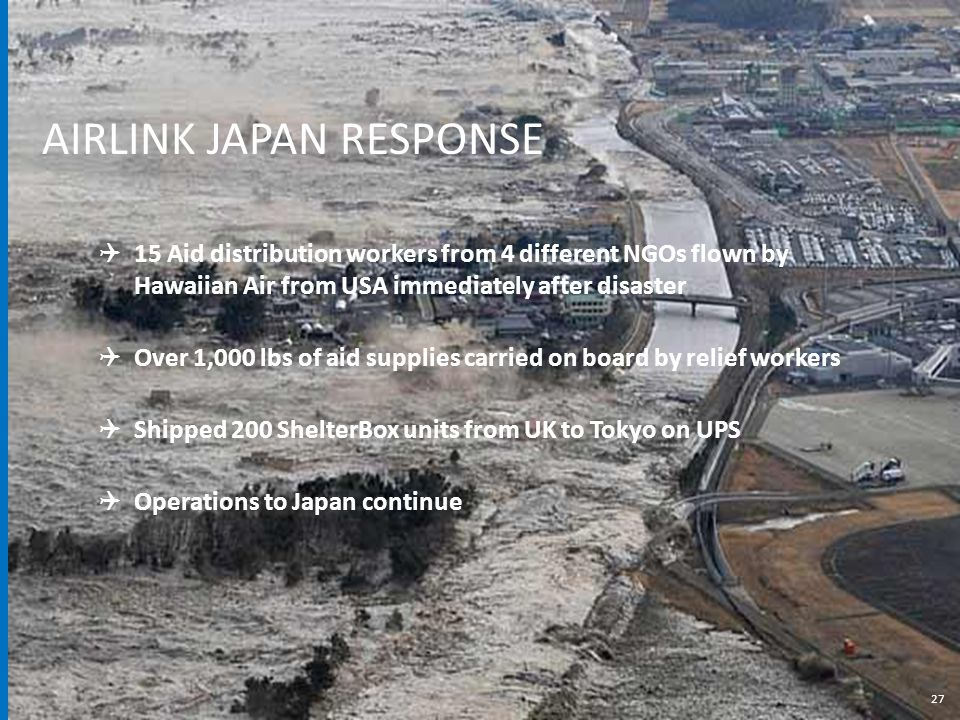 27  15 Aid distribution workers from 4 different NGOs flown by Hawaiian Air from USA immediately after disaster  Over 1,000 lbs of aid supplies carried on board by relief workers  Shipped 200 ShelterBox units from UK to Tokyo on UPS  Operations to Japan continue AIRLINK JAPAN RESPONSE