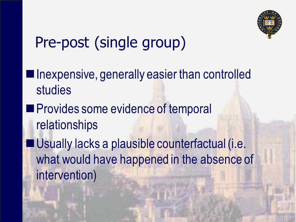 Pre-post (single group) Inexpensive, generally easier than controlled studies Provides some evidence of temporal relationships Usually lacks a plausible counterfactual (i.e.