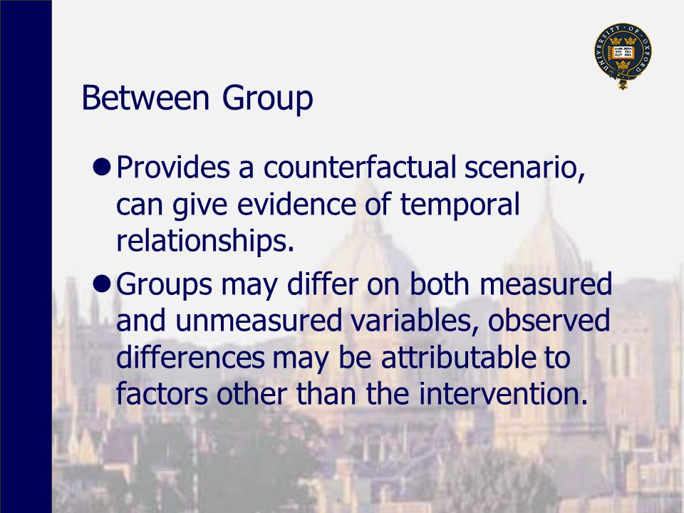 Between Group Provides a counterfactual scenario, can give evidence of temporal relationships.