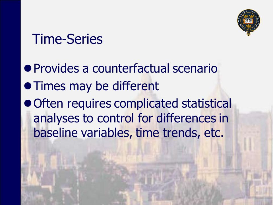 Time-Series Provides a counterfactual scenario Times may be different Often requires complicated statistical analyses to control for differences in baseline variables, time trends, etc.