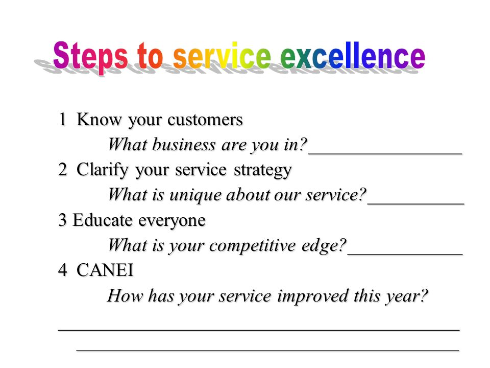 1Know your customers What business are you in ________________ 2Clarify your service strategy What is unique about our service __________ 3 Educate everyone What is your competitive edge ____________ 4CANEI How has your service improved this year.