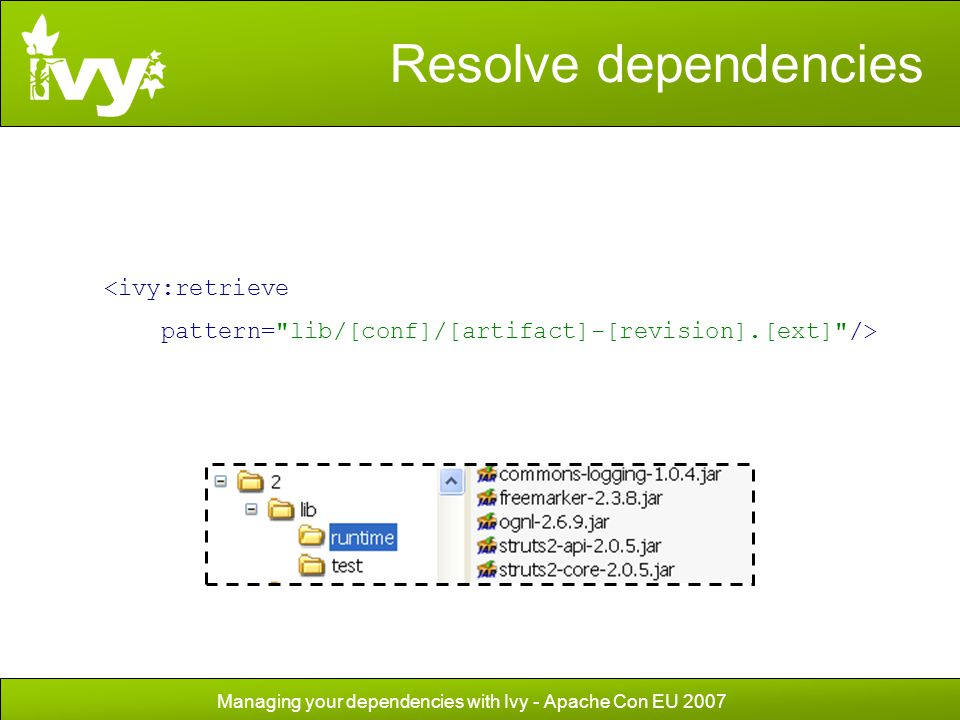 Managing your dependencies with Ivy - Apache Con EU 2007 Resolve dependencies <ivy:retrieve pattern=