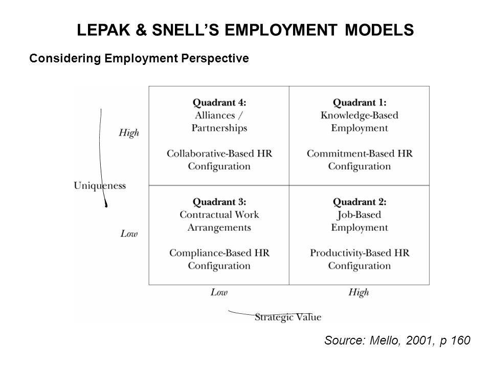 LEPAK & SNELL'S EMPLOYMENT MODELS Considering Employment Perspective Source: Mello, 2001, p 160