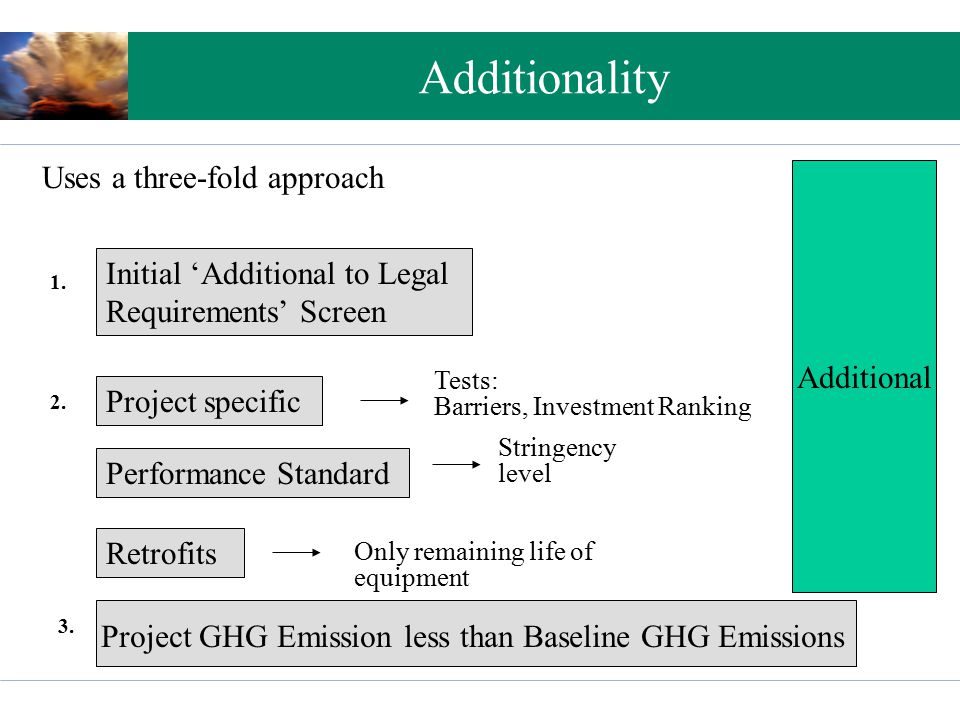Additionality Uses a three-fold approach Initial 'Additional to Legal Requirements' Screen Project specific Performance Standard Tests: Barriers, Investment Ranking Stringency level Retrofits Only remaining life of equipment 1.