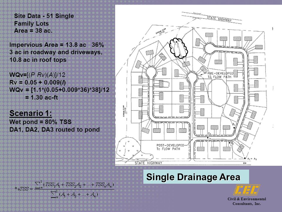 Civil & Environmental Consultants, Inc.Site Data - 51 Single Family Lots Area = 38 ac.