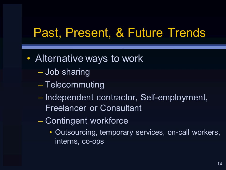 14 Past, Present, & Future Trends Alternative ways to work –Job sharing –Telecommuting –Independent contractor, Self-employment, Freelancer or Consultant –Contingent workforce Outsourcing, temporary services, on-call workers, interns, co-ops