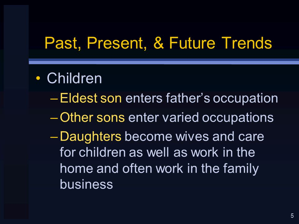 6 Past, Present, & Future Trends Industrial Revolution –Movement of workers from farms to cities Self-employment to working for others –Difficulty with career development in new trades Families less helpful in guiding children Family influence strong in deterministic society