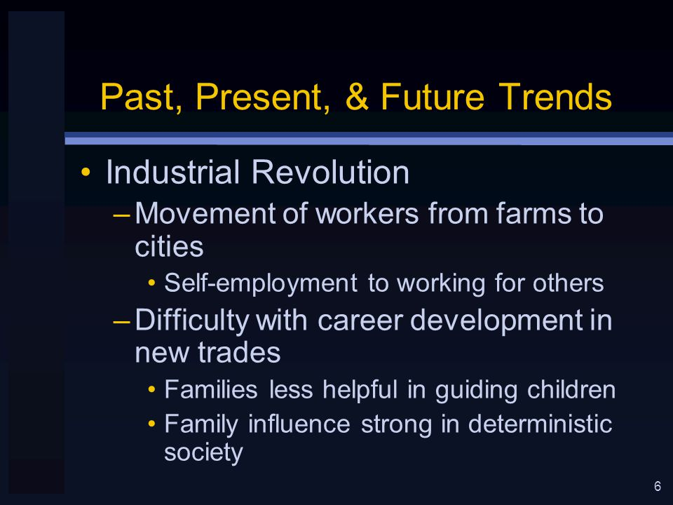 7 Past, Present, & Future Trends Immigrants –New groups wanted to reinvent themselves in America –Commonality of achievement motivation –Needed education –Ability to read & write supports vibrant middle class –Still needed vocational guidance