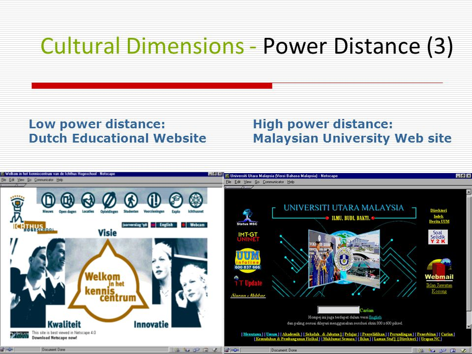 Cultural Dimensions - Power Distance (3) Low power distance: Dutch Educational Website High power distance: Malaysian University Web site