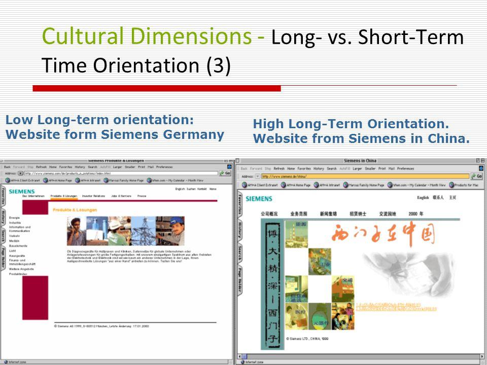 Cultural Dimensions - Long- vs. Short-Term Time Orientation (3) Low Long-term orientation: Website form Siemens Germany High Long-Term Orientation. We