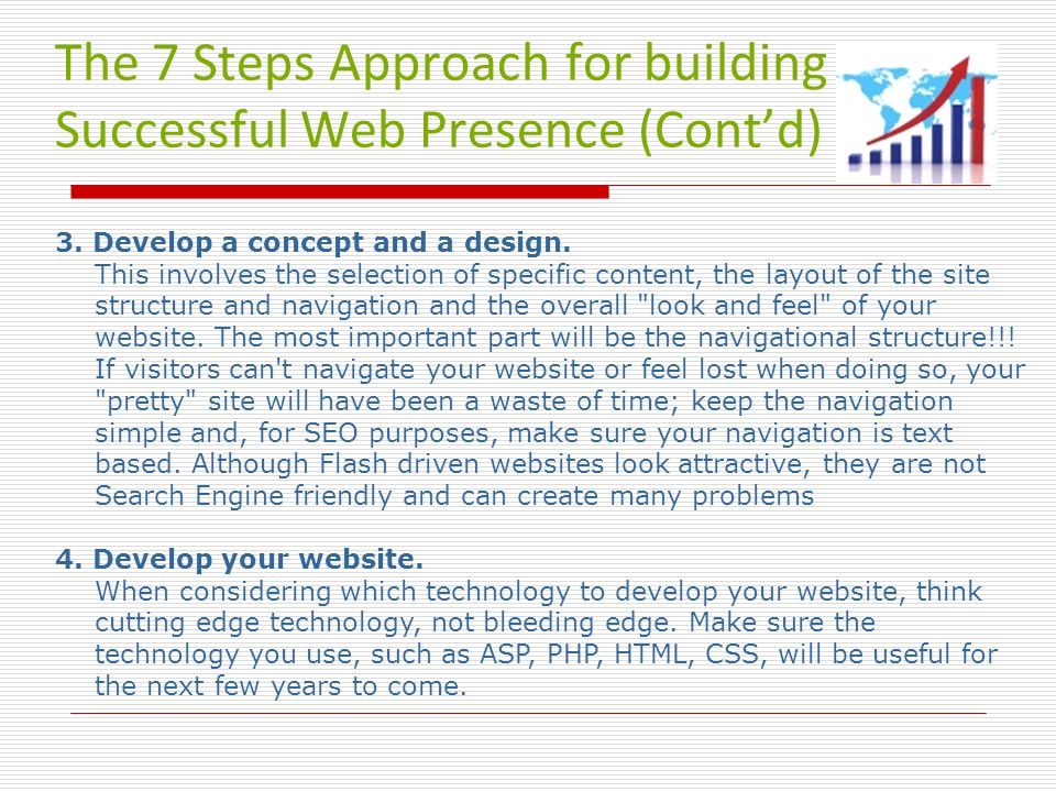 The 7 Steps Approach for building a Successful Web Presence (Cont'd) 3.