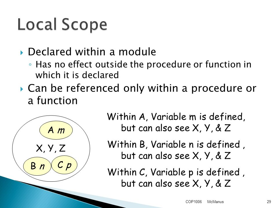  Declared within a module ◦ Has no effect outside the procedure or function in which it is declared  Can be referenced only within a procedure or a function McManusCOP100629 X, Y, Z A m C p B n Within A, Variable m is defined, but can also see X, Y, & Z Within B, Variable n is defined, but can also see X, Y, & Z Within C, Variable p is defined, but can also see X, Y, & Z