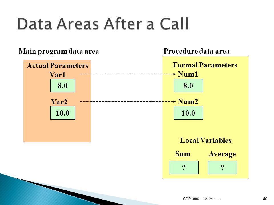 McManusCOP100640 8.0 10.0 8.0 10.0 ?? Formal Parameters Local Variables Sum Average Num1 Num2 Actual Parameters Var1 Var2 Main program data area Proce