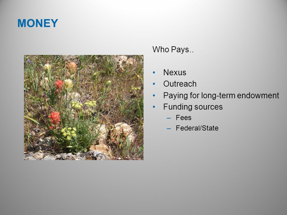 Who Pays.. Nexus Outreach Paying for long-term endowment Funding sources –Fees –Federal/State MONEY