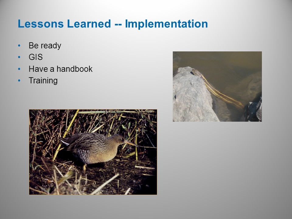 Be ready GIS Have a handbook Training Lessons Learned -- Implementation