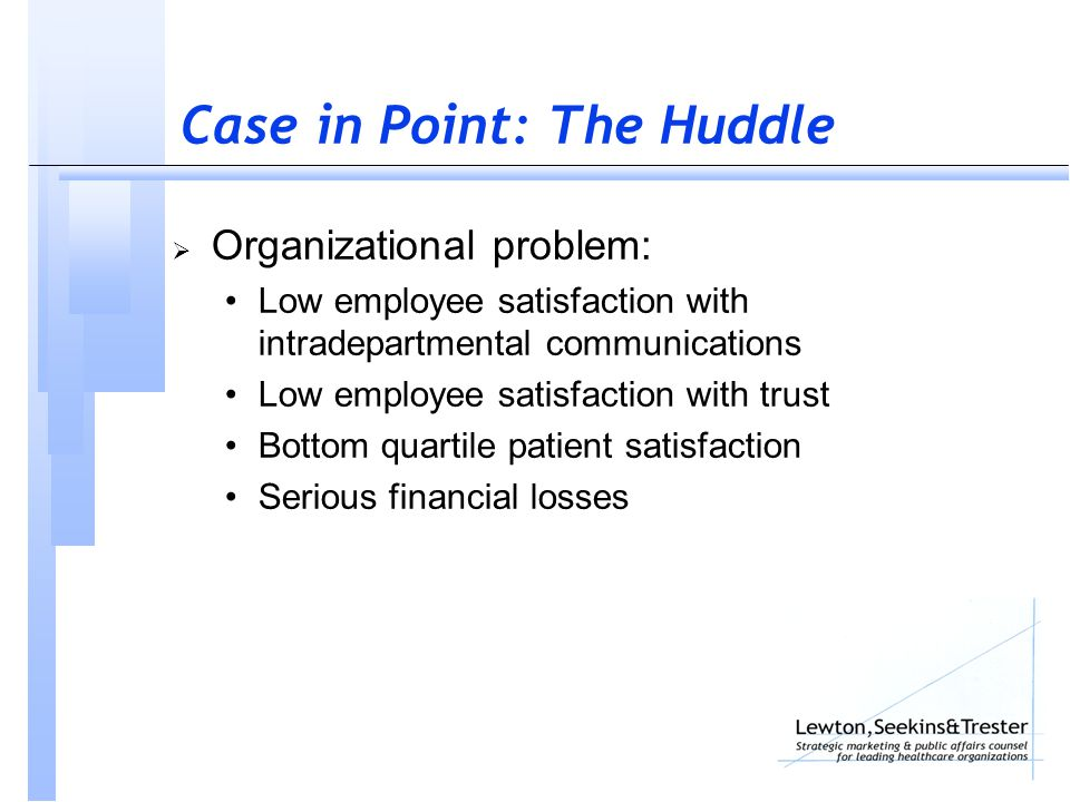 Case in Point: The Huddle  Organizational problem: Low employee satisfaction with intradepartmental communications Low employee satisfaction with trust Bottom quartile patient satisfaction Serious financial losses