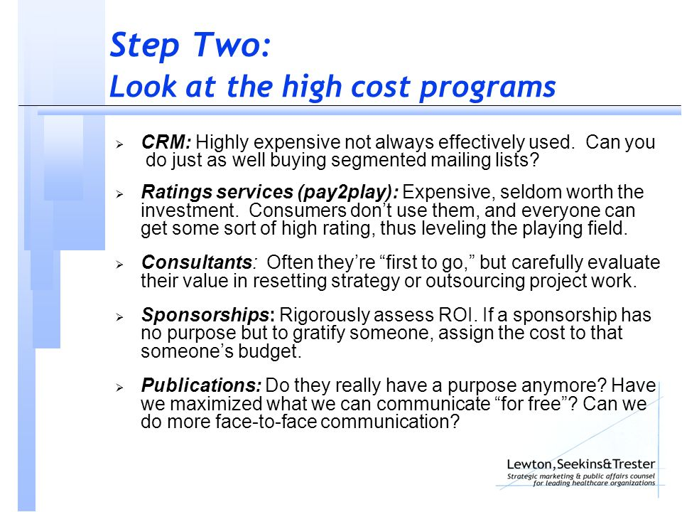 Step Two: Look at the high cost programs  CRM: Highly expensive not always effectively used.
