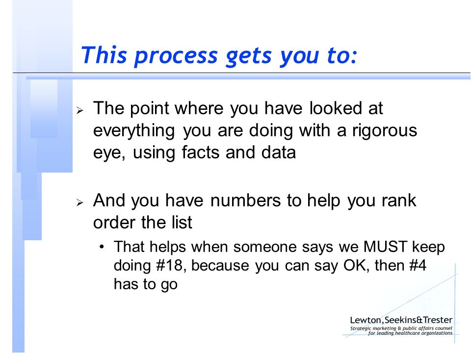 This process gets you to:  The point where you have looked at everything you are doing with a rigorous eye, using facts and data  And you have numbers to help you rank order the list That helps when someone says we MUST keep doing #18, because you can say OK, then #4 has to go