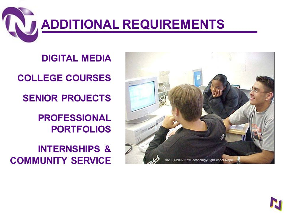 DIGITAL MEDIA COLLEGE COURSES SENIOR PROJECTS PROFESSIONAL PORTFOLIOS INTERNSHIPS & COMMUNITY SERVICE ADDITIONAL REQUIREMENTS