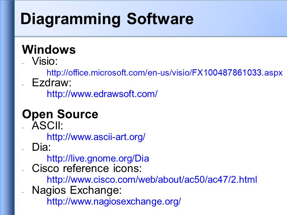 Diagramming Software Windows - Visio: http://office.microsoft.com/en-us/visio/FX100487861033.aspx - Ezdraw: http://www.edrawsoft.com/ Open Source - ASCII: http://www.ascii-art.org/ - Dia: http://live.gnome.org/Dia - Cisco reference icons: http://www.cisco.com/web/about/ac50/ac47/2.html - Nagios Exchange: http://www.nagiosexchange.org/