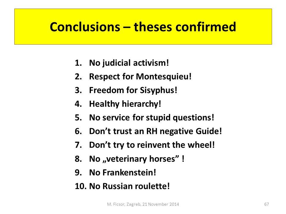 Conclusions – theses confirmed 1.No judicial activism.
