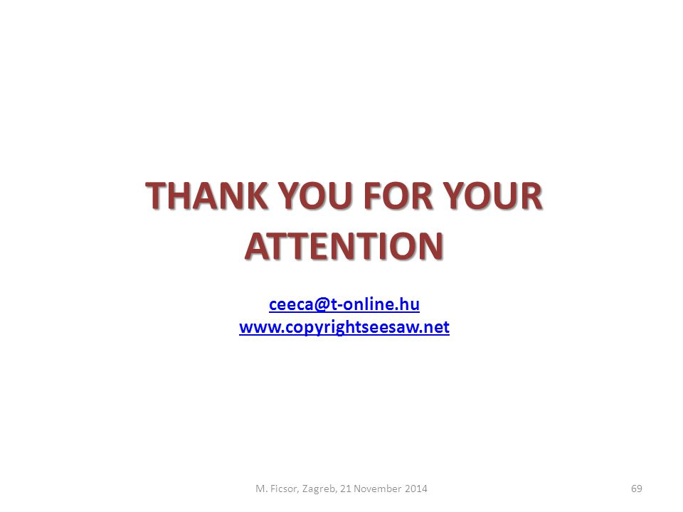 THANK YOU FOR YOUR ATTENTION ceeca@t-online.hu www.copyrightseesaw.net M.