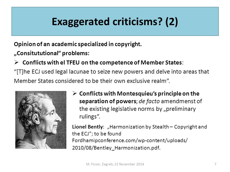 Exaggerated criticisms. (2) Opinion of an academic specialized in copyright.