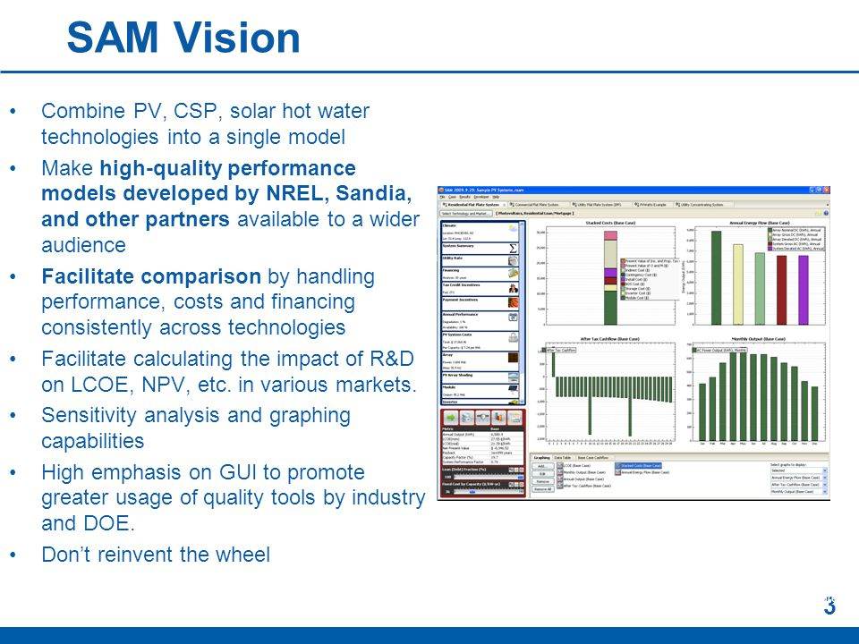 SAM Vision Combine PV, CSP, solar hot water technologies into a single model Make high-quality performance models developed by NREL, Sandia, and other partners available to a wider audience Facilitate comparison by handling performance, costs and financing consistently across technologies Facilitate calculating the impact of R&D on LCOE, NPV, etc.