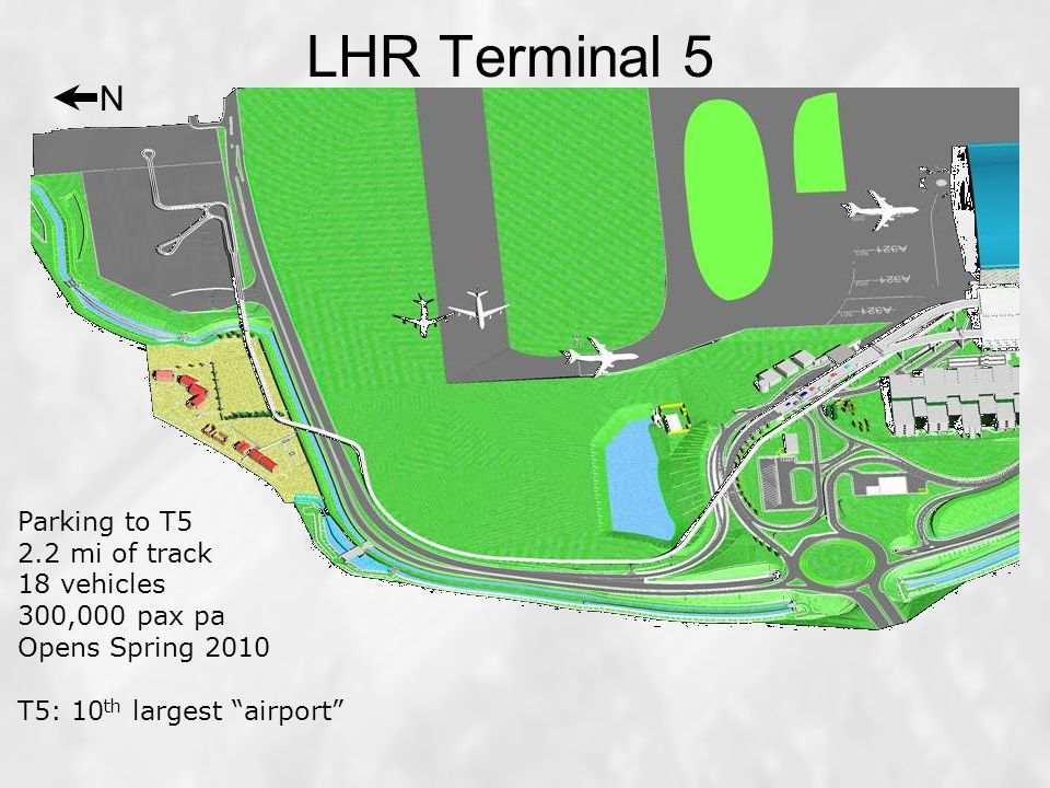 LHR Terminal 5 N Parking to T5 2.2 mi of track 18 vehicles 300,000 pax pa Opens Spring 2010 T5: 10 th largest airport