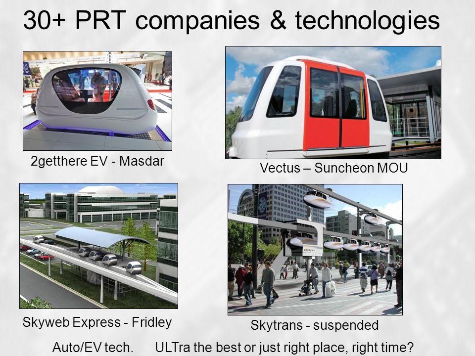 30+ PRT companies & technologies 2getthere EV - Masdar Vectus – Suncheon MOU Skyweb Express - Fridley Skytrans - suspended Auto/EV tech.