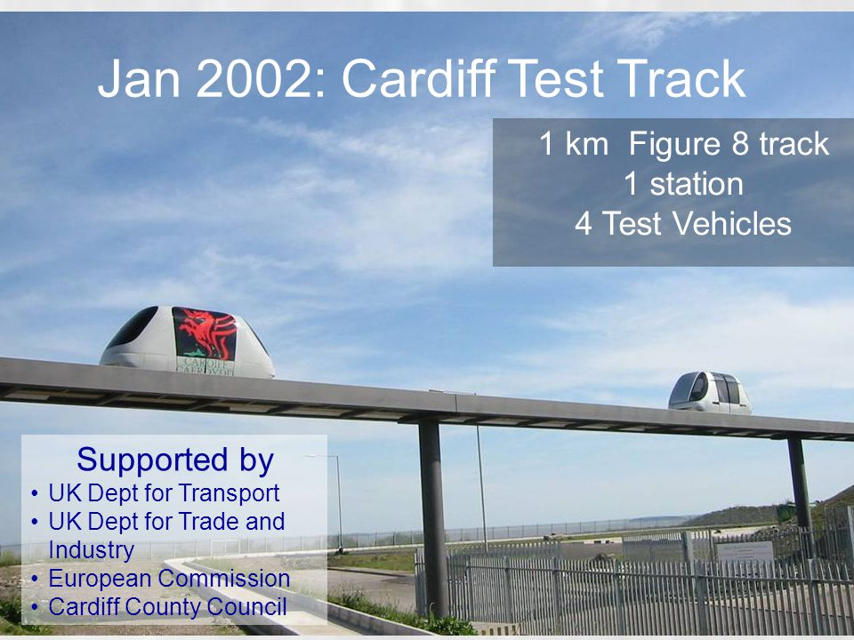 Jan 2002: Cardiff Test Track 1 km Figure 8 track 1 station 4 Test Vehicles Supported by UK Dept for Transport UK Dept for Trade and Industry European Commission Cardiff County Council