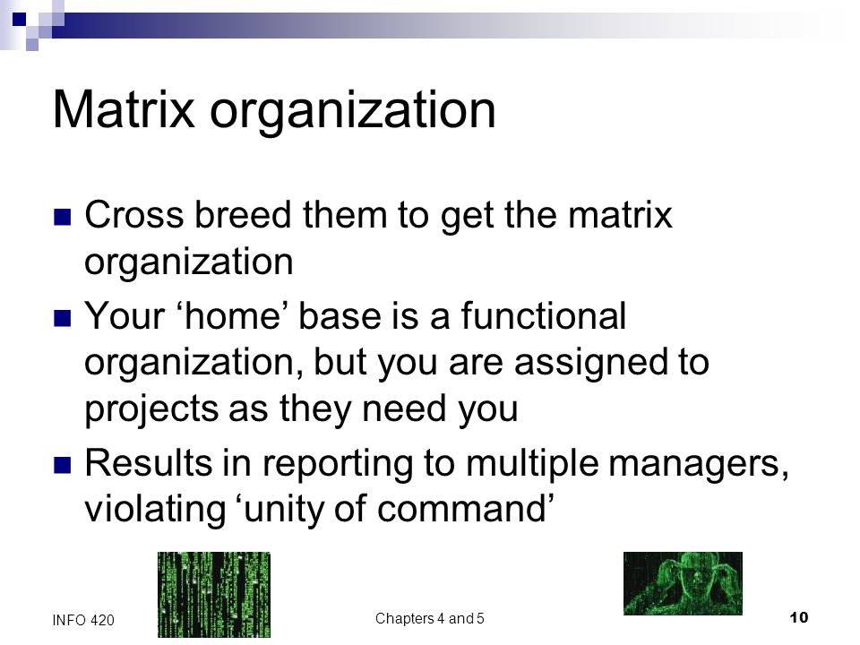 Chapters 4 and 5 10 INFO 420 Matrix organization Cross breed them to get the matrix organization Your 'home' base is a functional organization, but you are assigned to projects as they need you Results in reporting to multiple managers, violating 'unity of command'