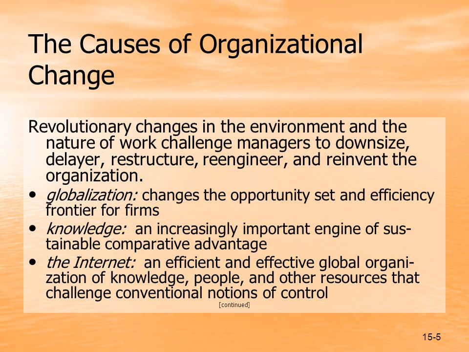 15-5 The Causes of Organizational Change Revolutionary changes in the environment and the nature of work challenge managers to downsize, delayer, restructure, reengineer, and reinvent the organization.