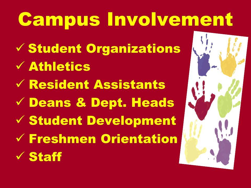 Campus Involvement Student Organizations Athletics Resident Assistants Deans & Dept. Heads Student Development Freshmen Orientation Staff