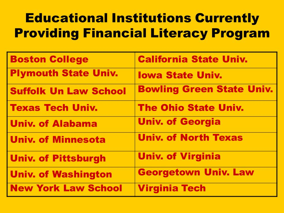 Educational Institutions Currently Providing Financial Literacy Program Boston CollegeCalifornia State Univ.