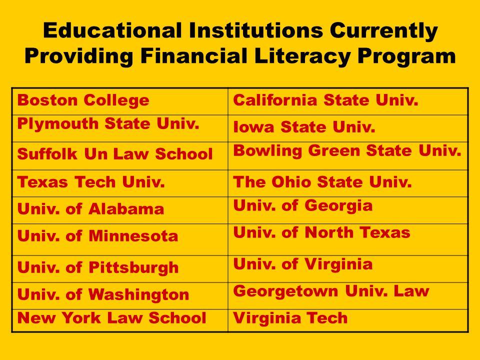 Educational Institutions Currently Providing Financial Literacy Program Boston CollegeCalifornia State Univ. Plymouth State Univ. Iowa State Univ. Suf