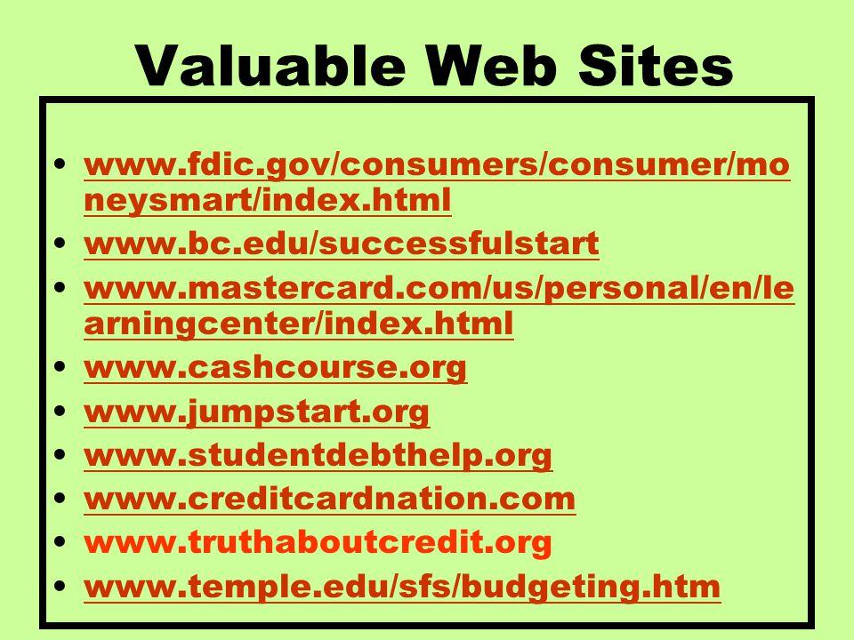 Valuable Web Sites www.fdic.gov/consumers/consumer/mo neysmart/index.htmlwww.fdic.gov/consumers/consumer/mo neysmart/index.html www.bc.edu/successfuls