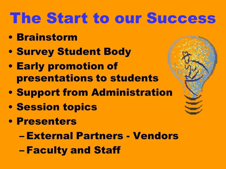 Brainstorm Survey Student Body Early promotion of presentations to students Support from Administration Session topics Presenters –External Partners - Vendors –Faculty and Staff The Start to our Success