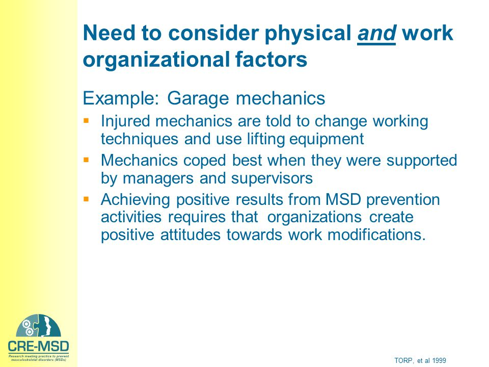 Need to consider physical and work organizational factors Example: Garage mechanics  Injured mechanics are told to change working techniques and use