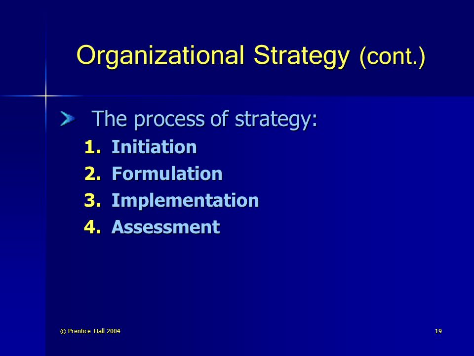 © Prentice Hall 200419 Organizational Strategy (cont.) The process of strategy: 1.Initiation 2.Formulation 3.Implementation 4.Assessment