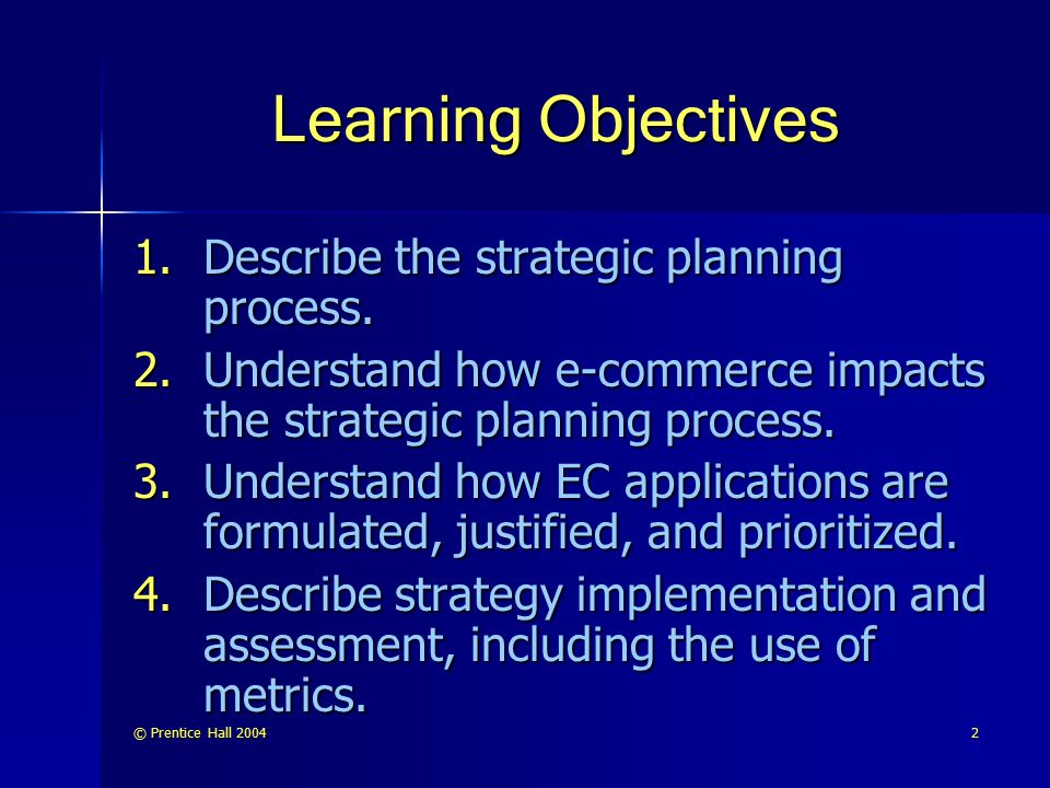 © Prentice Hall 20043 Learning Objectives (cont.) 5.Understand the causes of EC failures and lessons for success.