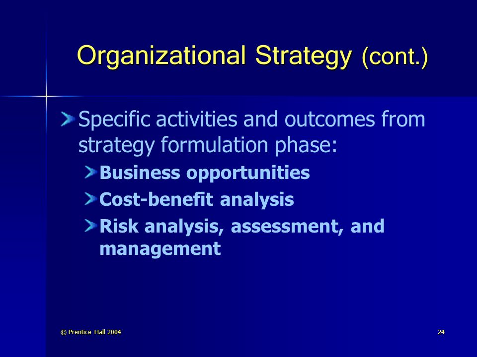 © Prentice Hall 200424 Organizational Strategy (cont.) Specific activities and outcomes from strategy formulation phase: Business opportunities Cost-b