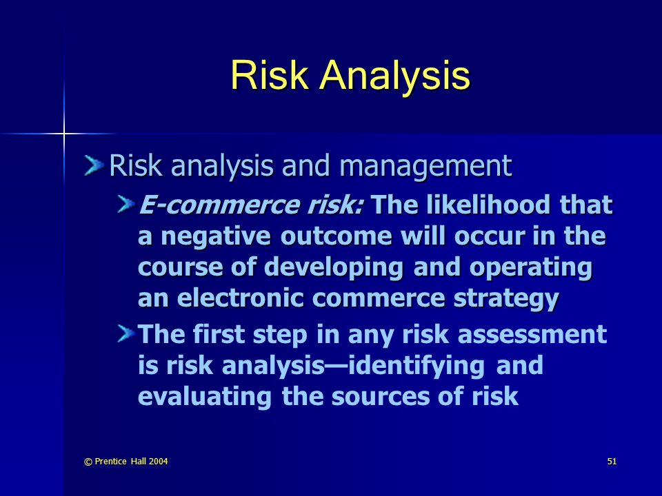 © Prentice Hall 200452 Risk Analysis (cont.) Four sources of business risk in an e-commerce strategy: 1.
