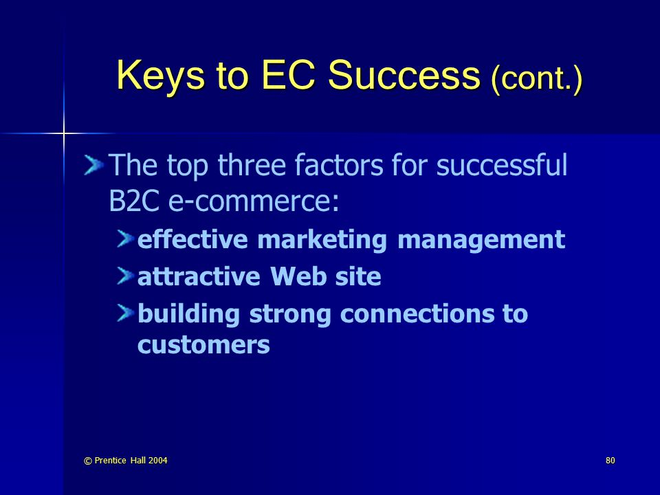 © Prentice Hall 200481 Keys to EC Success (cont.) The top three factors for successful B2B e-commerce: readiness of trading partners information integration inside the company and in the supply chain completeness of the application