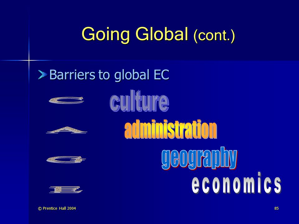 © Prentice Hall 200485 Going Global (cont.) Barriers to global EC
