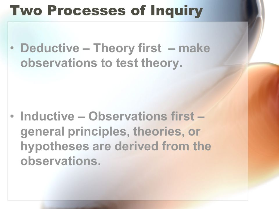Two Processes of Inquiry Deductive – Theory first – make observations to test theory.