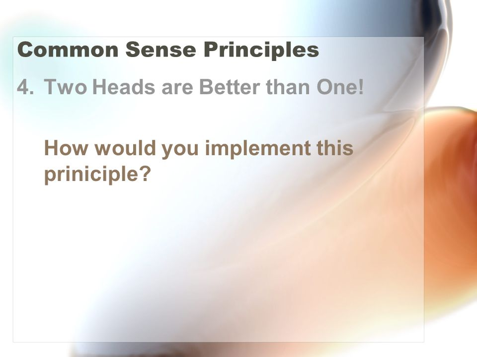 Common Sense Principles 4.Two Heads are Better than One! How would you implement this priniciple?