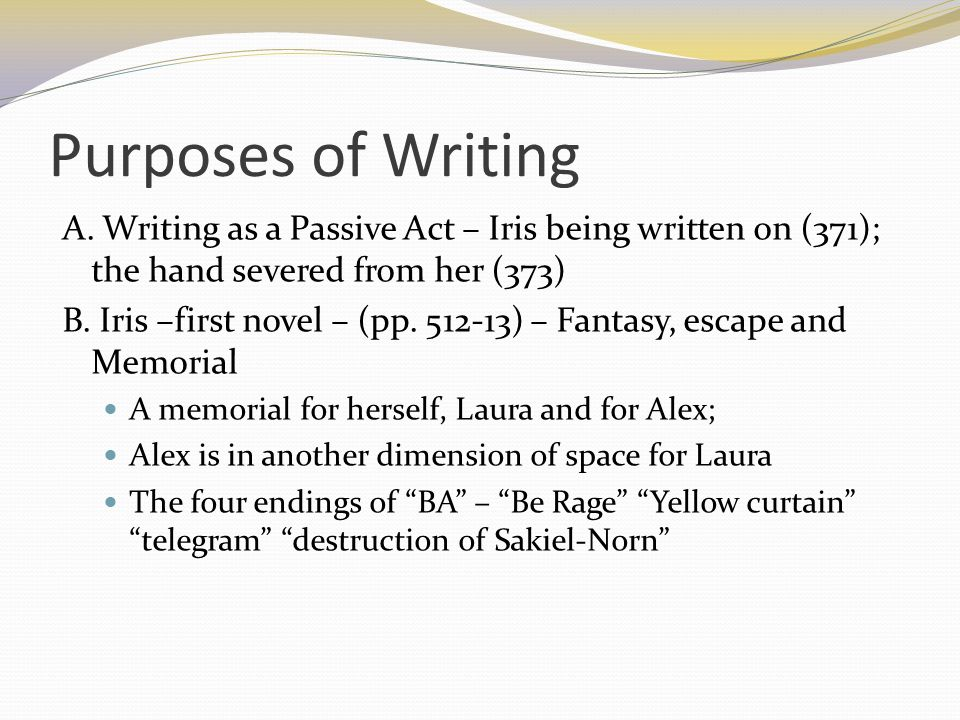 Purposes of Writing A.
