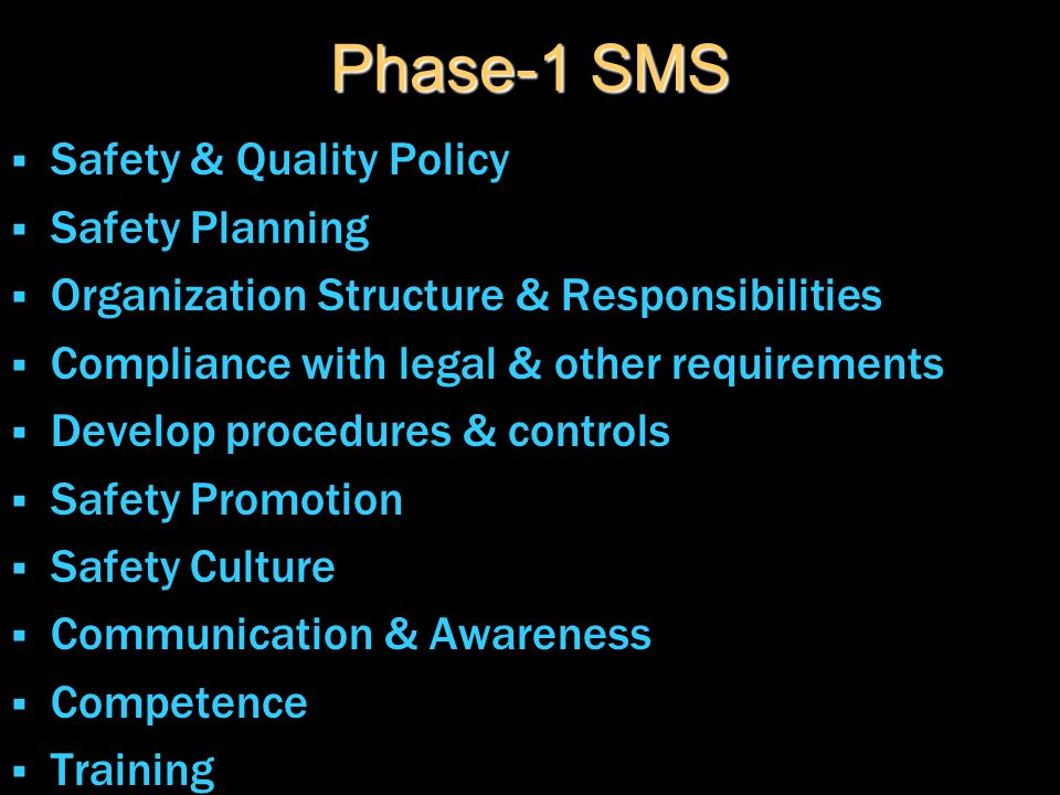 Phase-1 SMS  Safety & Quality Policy  Safety Planning  Organization Structure & Responsibilities  Compliance with legal & other requirements  Dev